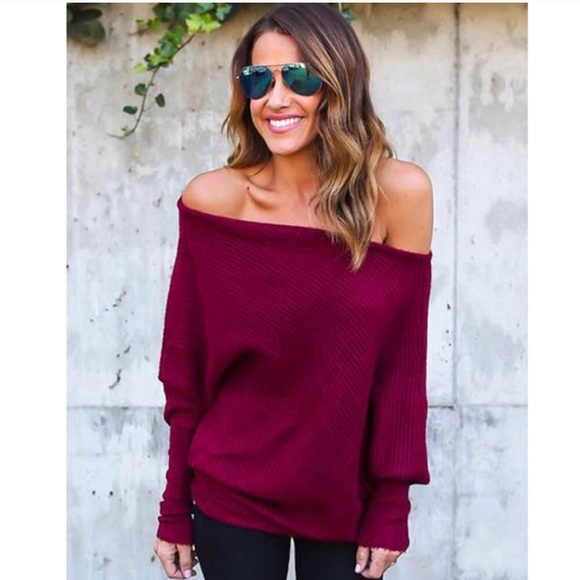 41bea1f1c9784 Boutique Sweaters   Back In Stock Off Shoulder Burgundy Sweater ...